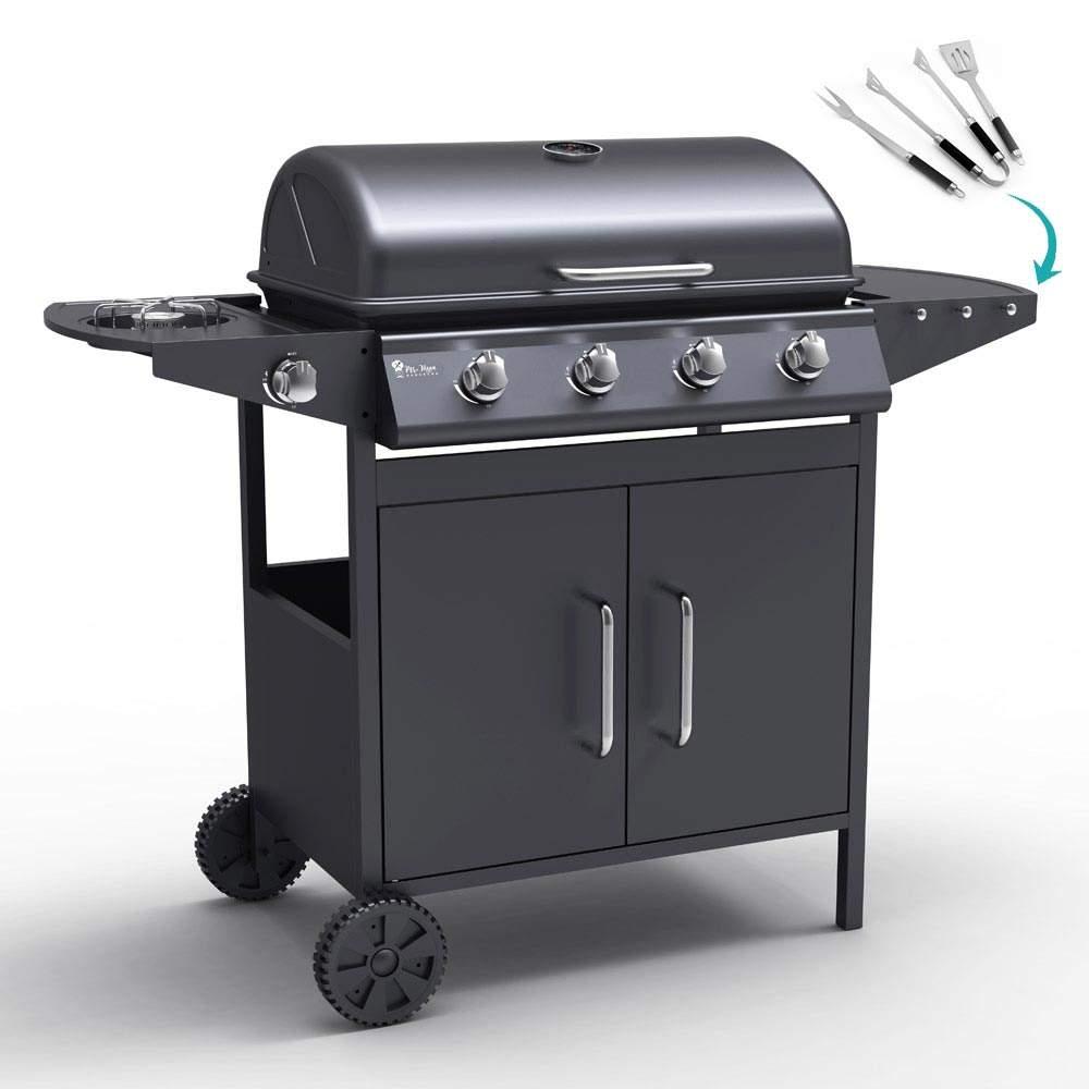 Barbecue BBQ a gas in acciaio inox con 4+1 bruciatori e griglia AYRSHIRE - discount