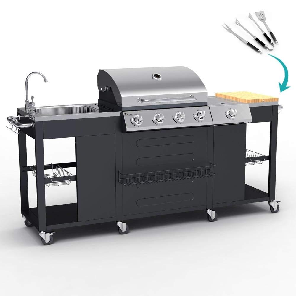 BBQ Professionale A Gas Acciaio Inox 4+1 Bruciatori Griglia E Lavello Beefmaster