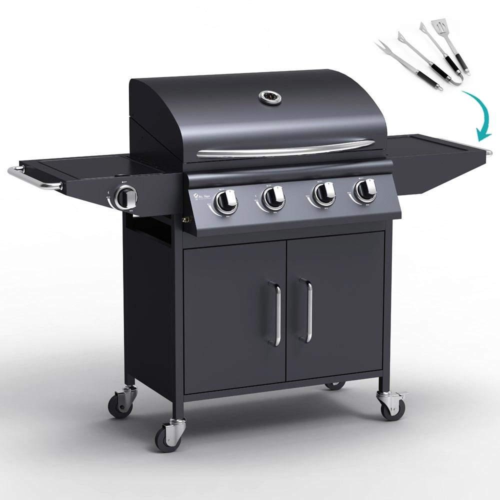 Barbecue BBQ professionale a gas in acciaio inox con 4+1 bruciatori e griglia RED ANGUS - sales