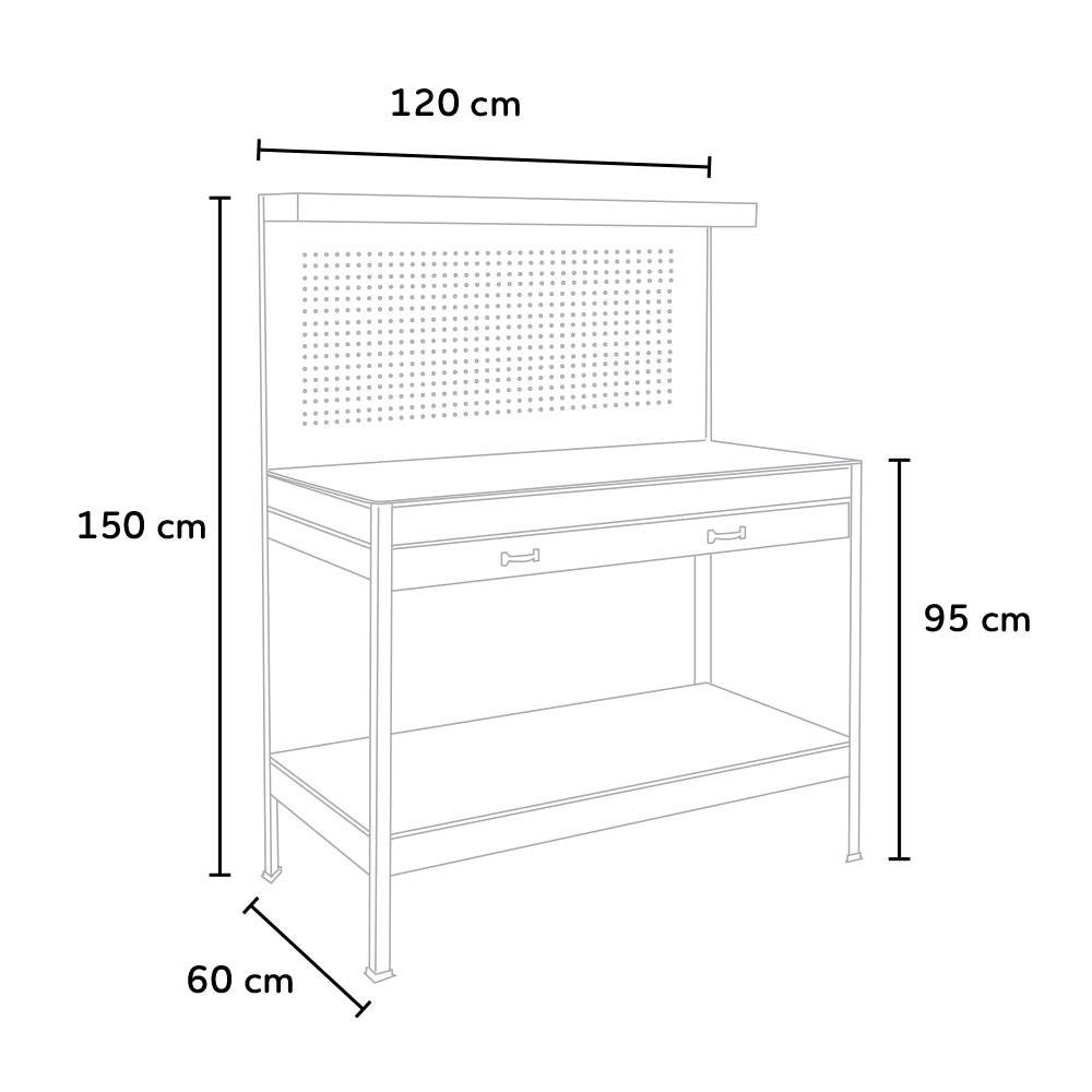 Banco-da-lavoro-tavolo-con-pannello-e-cassetto-per-officina-MAX-120x60x150cm miniatura 16