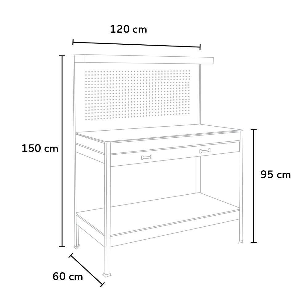 miniatura 42 - Banco da lavoro tavolo con pannello e cassetto per officina Max 120x60x150cm