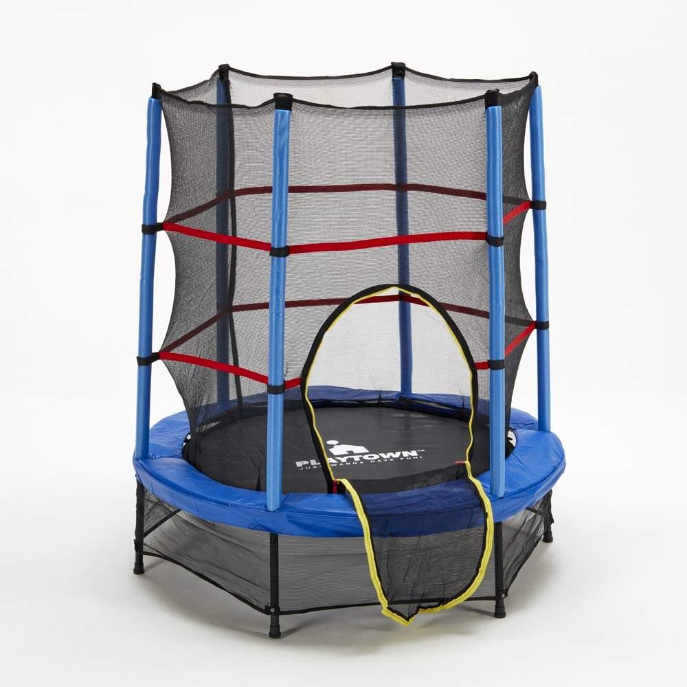 Trampolino Tappeto Elastico per bambini 140cm rete e imbottiture di sicurezza Frog - promo