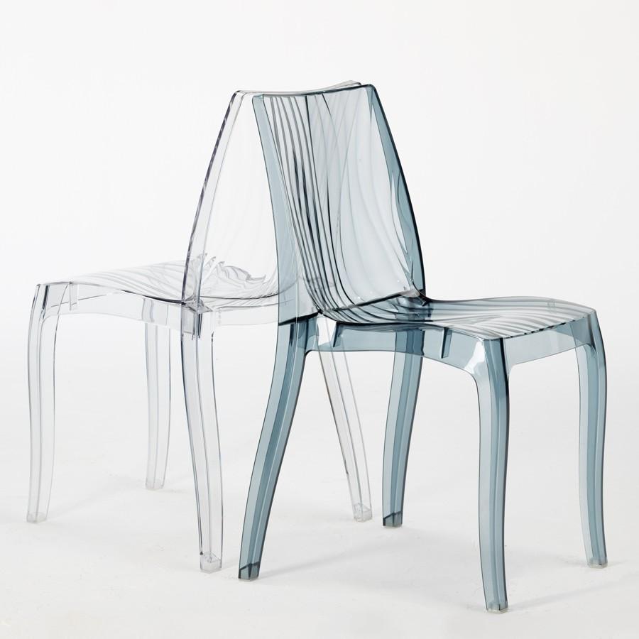 miniature 13 - Chaise bar salle à manger polycarbonate transparent empilable Dune Grand Soleil