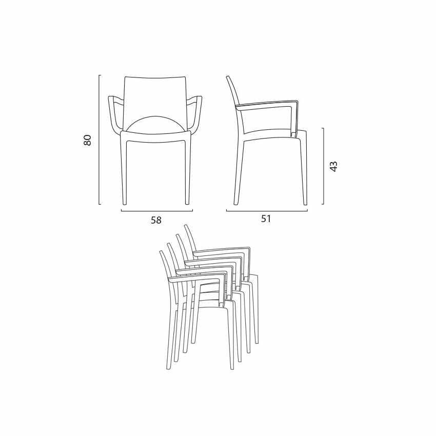 Offerta 24 Sedie con Braccioli Impilabili Lavabili per Bar Ristorante PARIS ARM Grand Soleil - dettaglio