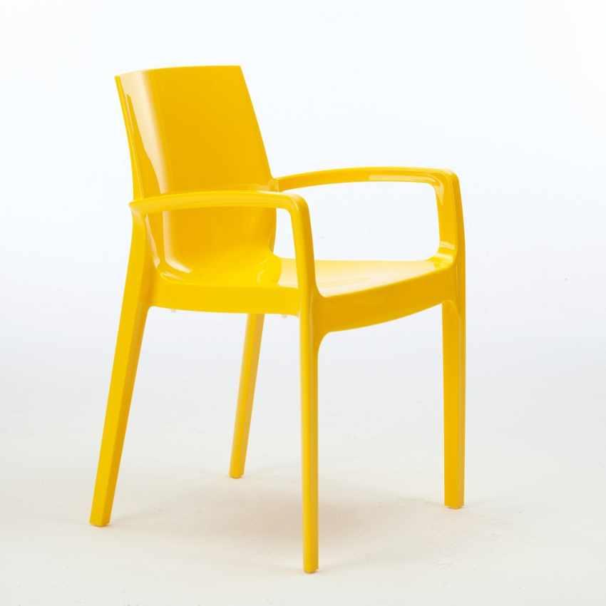 Sedia in Polipropilene per Bar Cucina Soggiorno Impilabile con Braccioli CREAM - esterno