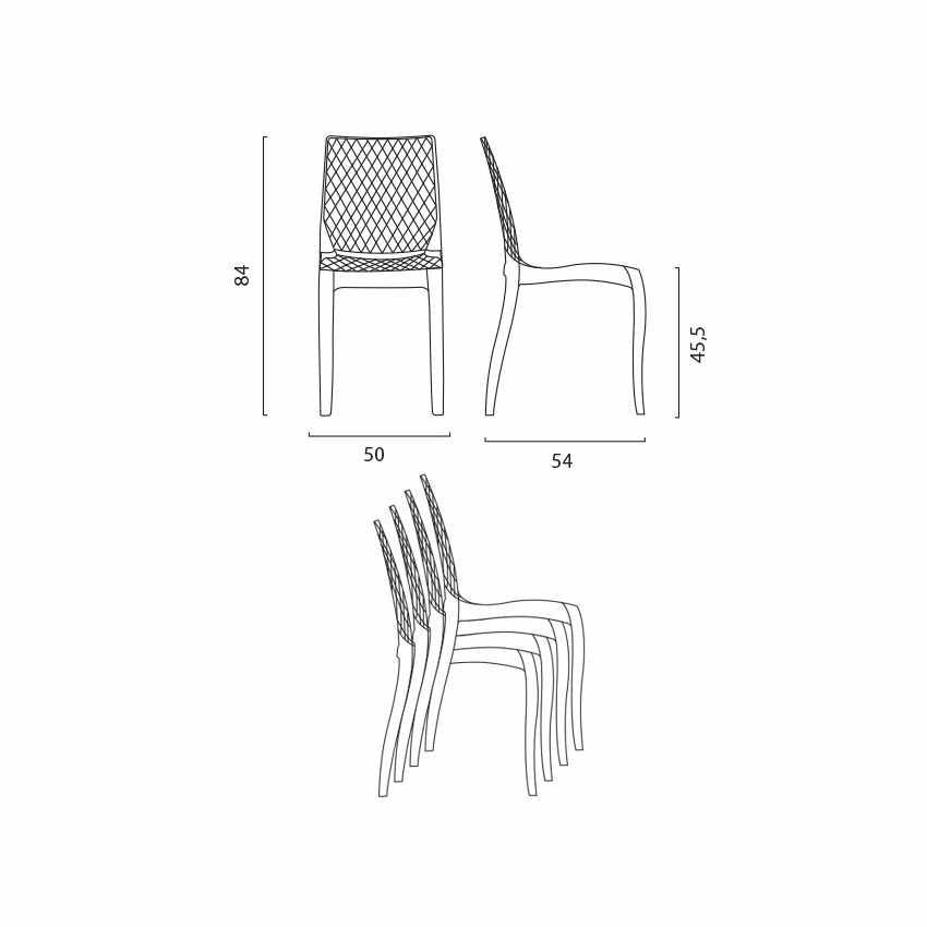 Sedie cucina e bar policarbonato trasparente impilabile HYPNOTIC Grand Soleil - outdoor