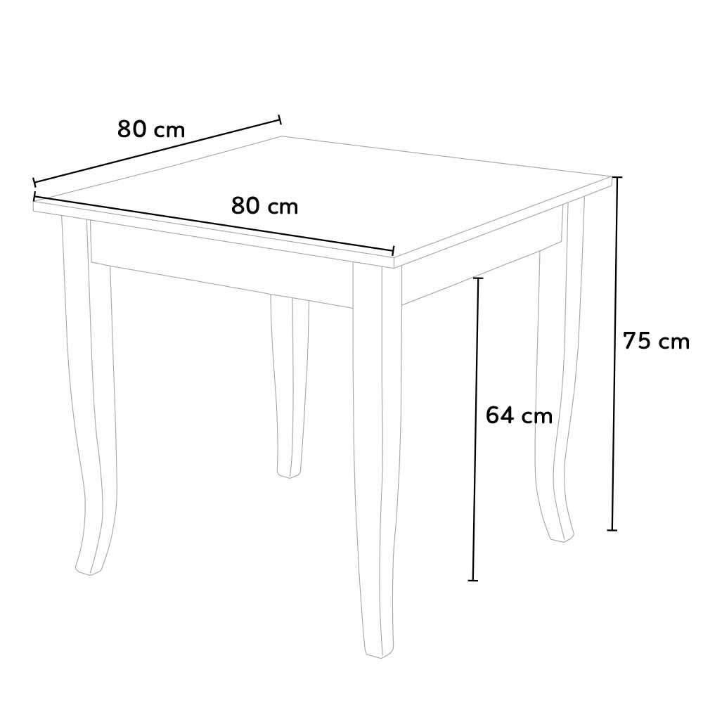 Rusty Set 4 Sedie E Tavolo Da Interno Cucina Bar Quadrato 80x80 Legno