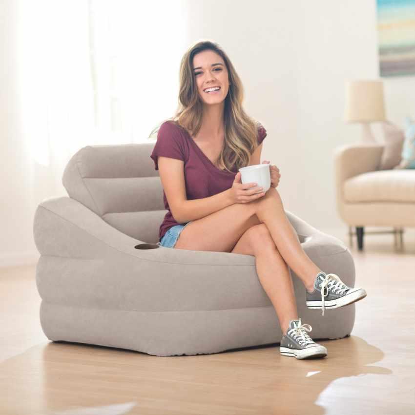 Fauteuil pouf gonflable Intex 68587 pour maison, jardin, TV - discount
