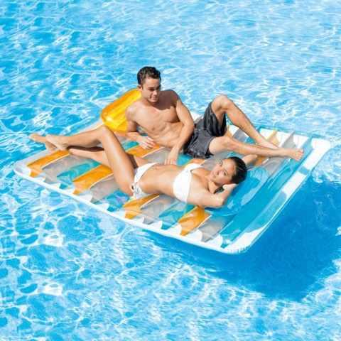 Isla flotante intex 58292 colchoneta inflable piscina for Colchonetas piscina