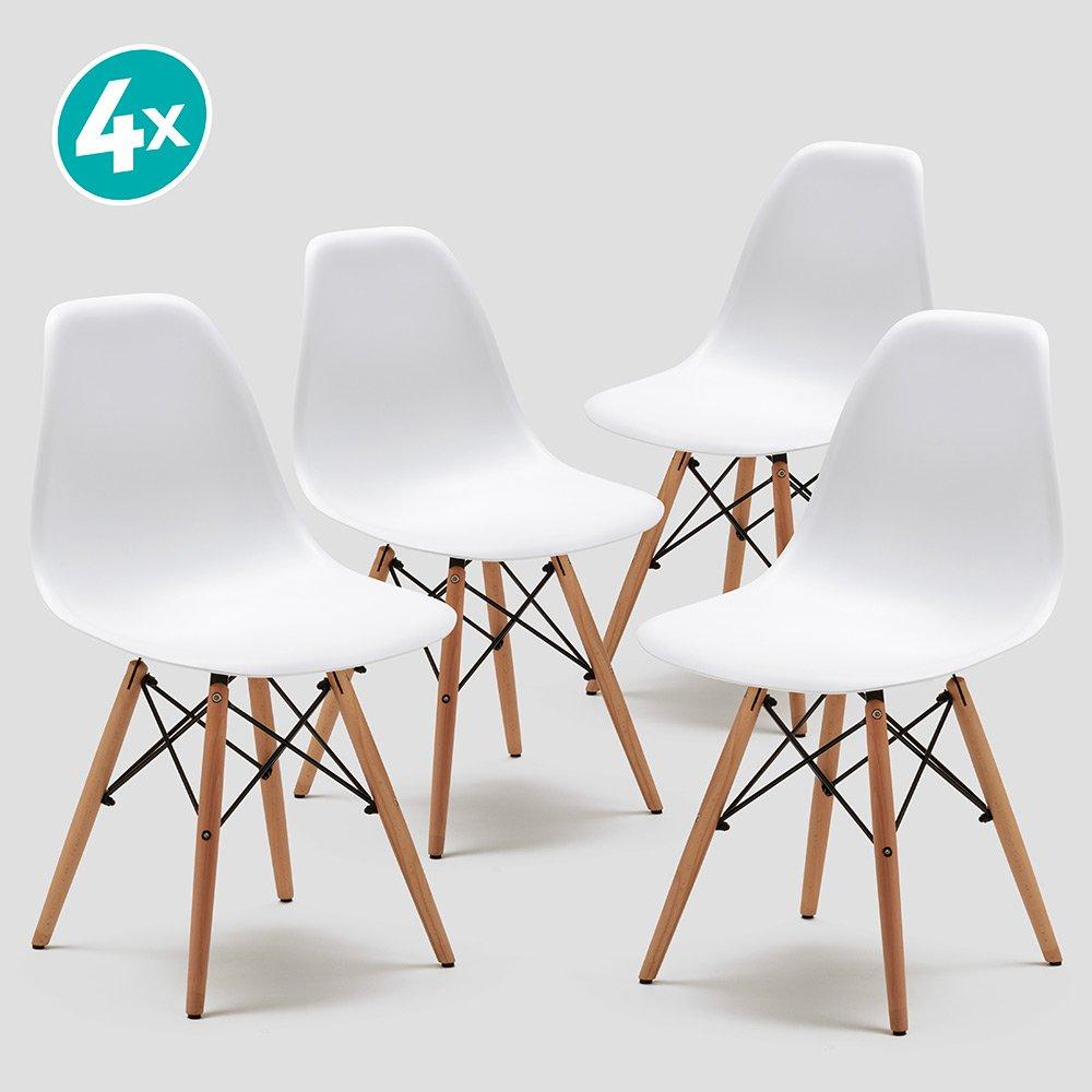Set di 4 sedie per sala da pranzo sedie in polietilene per cucina//ufficio//bar bianco
