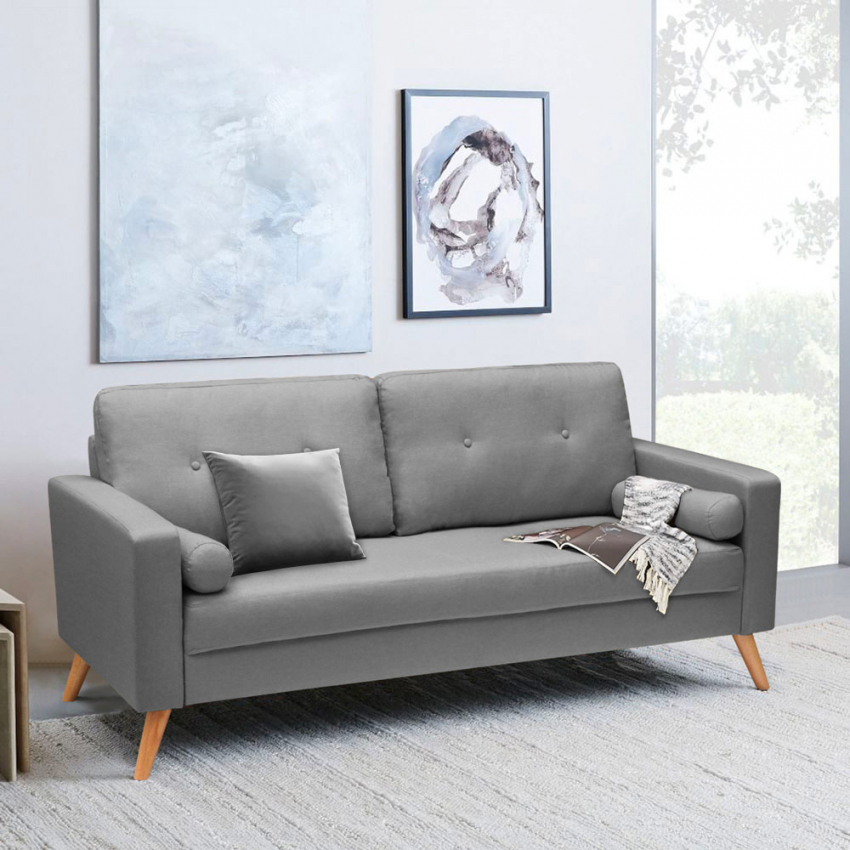 Canapé Design Moderne Style Scandinave en Tissu 3 Places pour salon et  salle à manger ACQUAMARINA