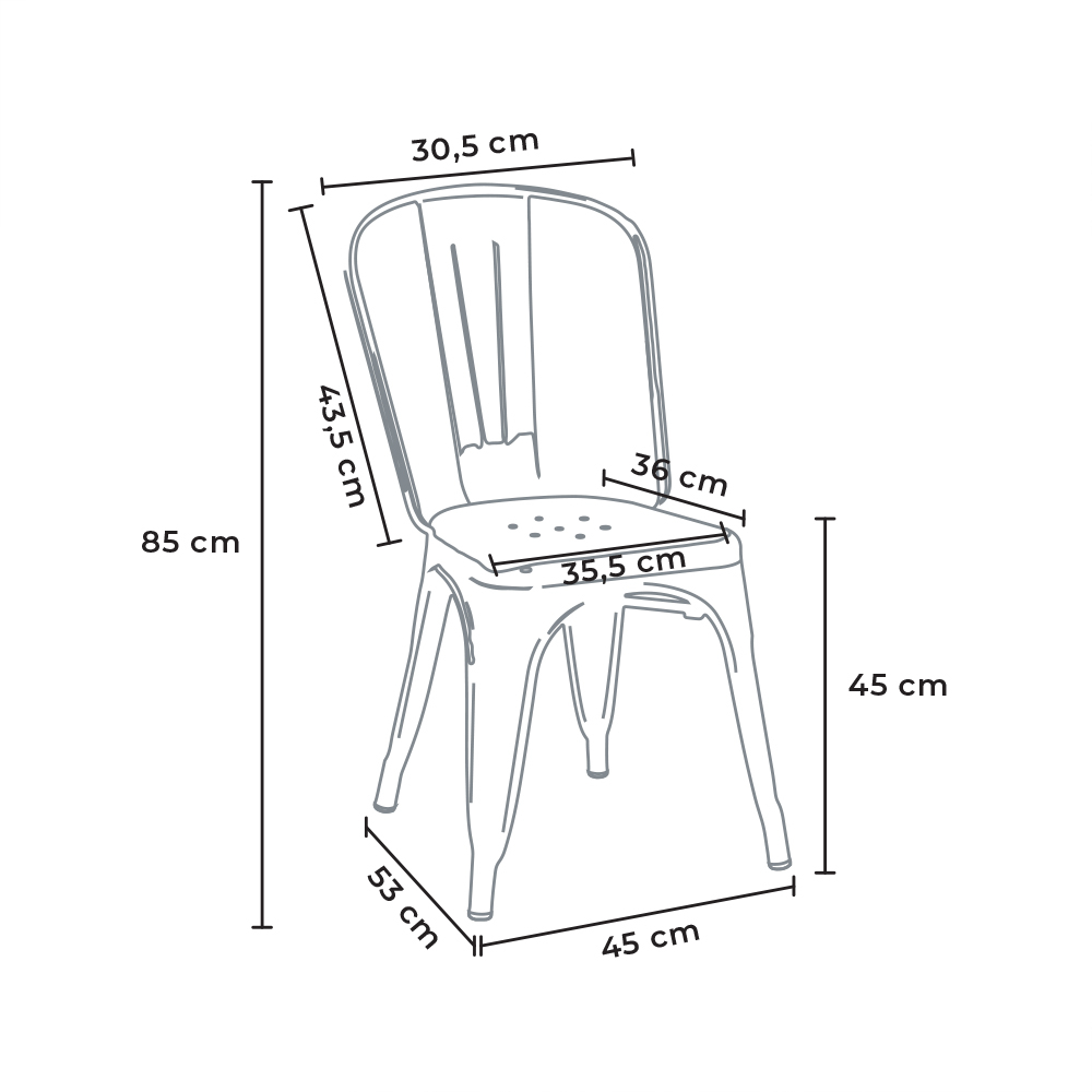 miniatura 45 - Sedie Tolix industrial metallo e acciaio per cucina e bar Steel One