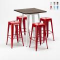 Set tavolo alto e 4 sgabelli in metallo stile Tolix industriale Harlem per Bar e Pub