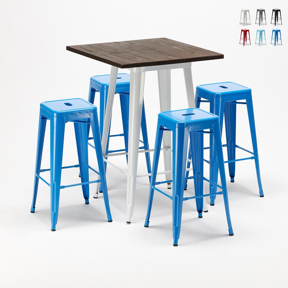 Set tavolo alto e 4 sgabelli in metallo stile Tolix industriale HARLEM per Bar e Pub - photo