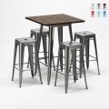 Set tavolo alto e 4 sgabelli in metallo stile Tolix industriale Williamsburg