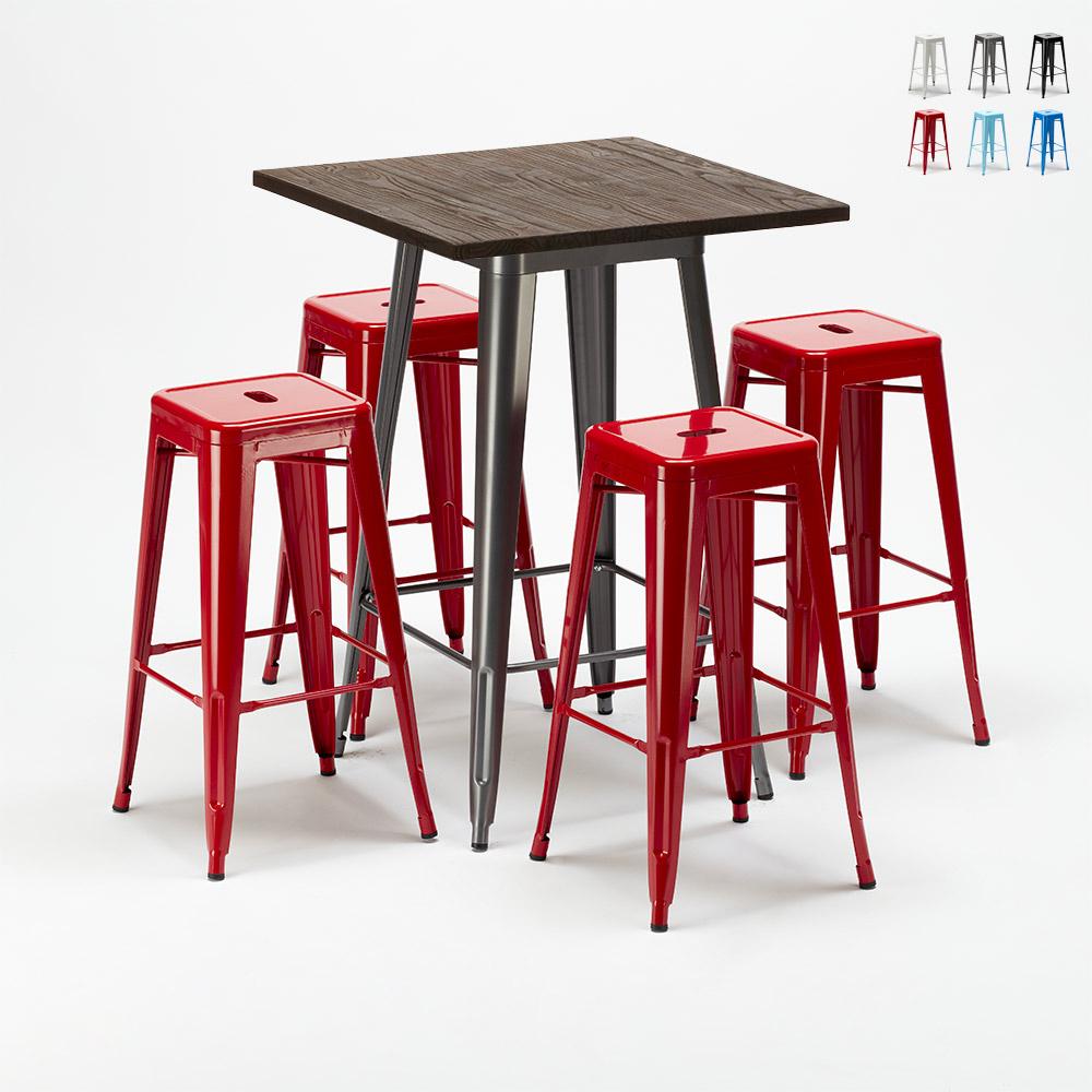 Set tavolo alto e 4 sgabelli in metallo stile Tolix industriale WILLIAMSBURG - outdoor