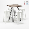 Set tavolo alto e 4 sgabelli in metallo stile Tolix industrial Kips Bay per pub