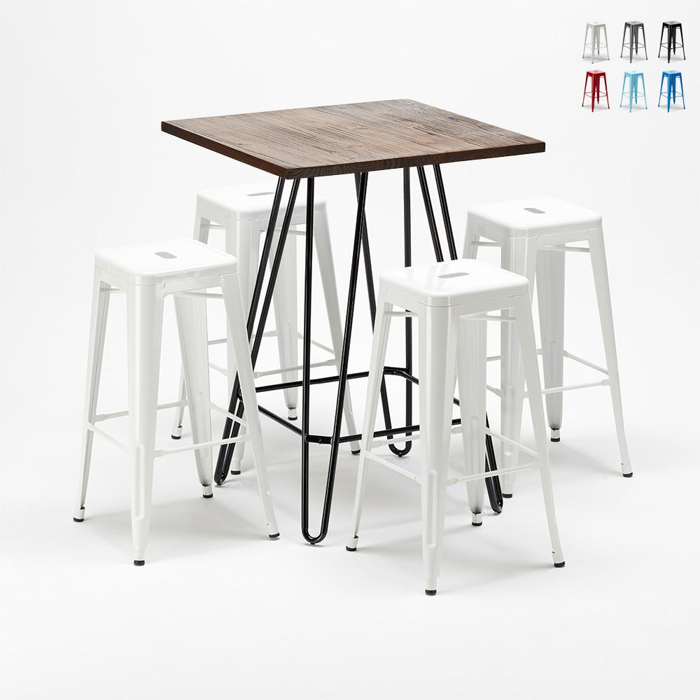 Set tavolo alto e 4 sgabelli in metallo stile Tolix industrial KIPS BAY per pub - offert
