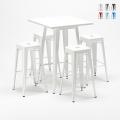 Tavolo alto e 4 sgabelli in metallo design Tolix industriale UNION SQUARE per pub - price