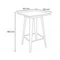 Tavolo alto e 4 sgabelli in metallo design Tolix industriale UNION SQUARE per pub - details