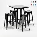 Tavolo alto e 4 sgabelli in metallo stile Tolix industriale New York bar pub