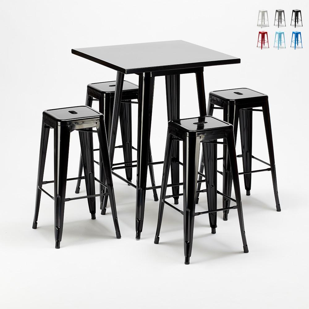 Tavolo alto e 4 sgabelli in metallo stile Tolix industriale NEW YORK bar pub - price