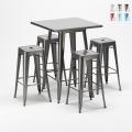 Set Tavolo alto e 4 sgabelli in metallo design Tolix industriale Gowanus