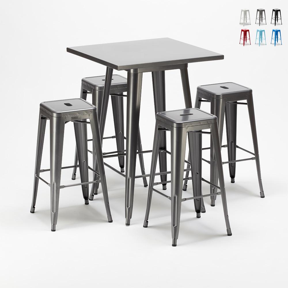 Set Tavolo alto e 4 sgabelli in metallo design Tolix industriale GOWANUS - photo