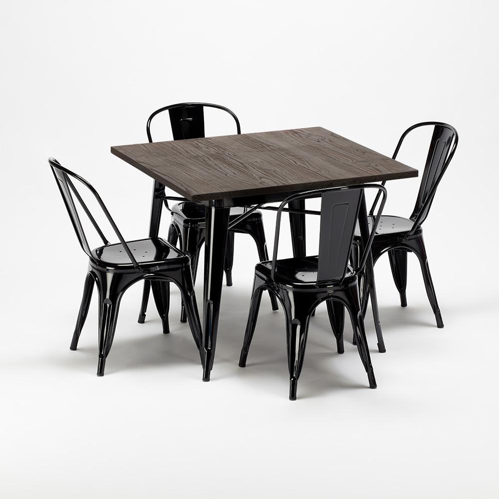 West Village Set Tavolo Quadrato In Legno E Sedie In Metallo Stile Tolix Industriale