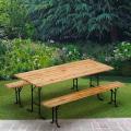 Set birreria tavolo panche legno feste giardino sagre 220x80 - outdoor