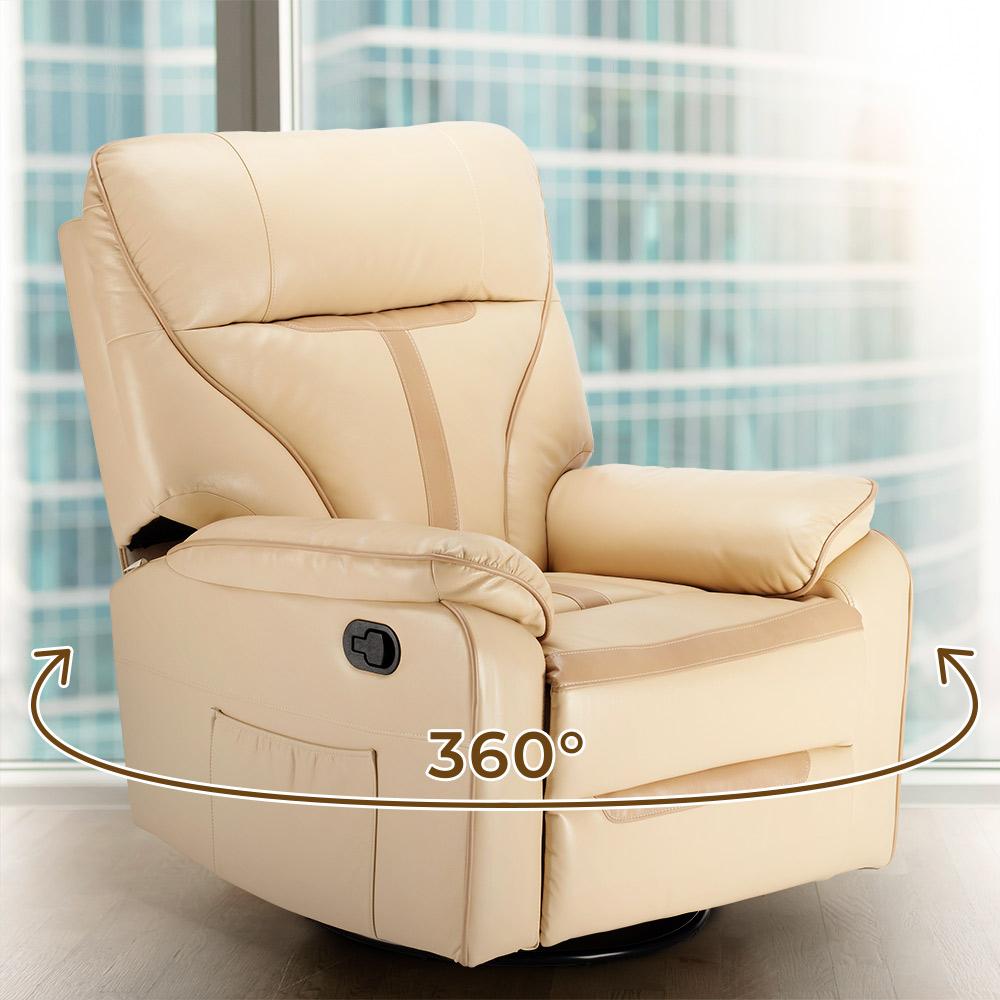 miniature 21 - Poltrona Relax Reclinabile Dondolo Poggiapiedi Rotazione 360 Sissi