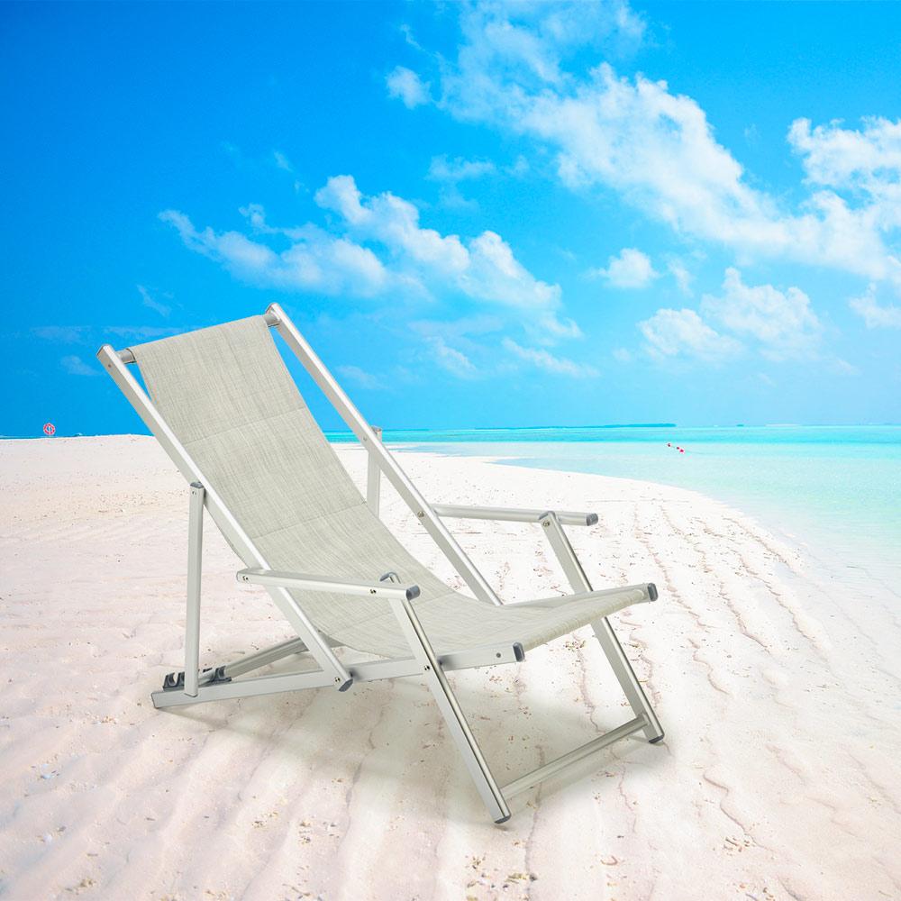 miniatura 3 - Sedia sdraio mare spiaggia richiudibile braccioli alluminio piscina RICCIONE LUX