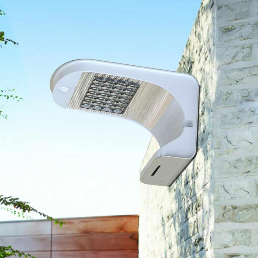 Lampada a Muro Solare per Giardino Esterni 28 LED Sensore Movimento REFLEX - promo