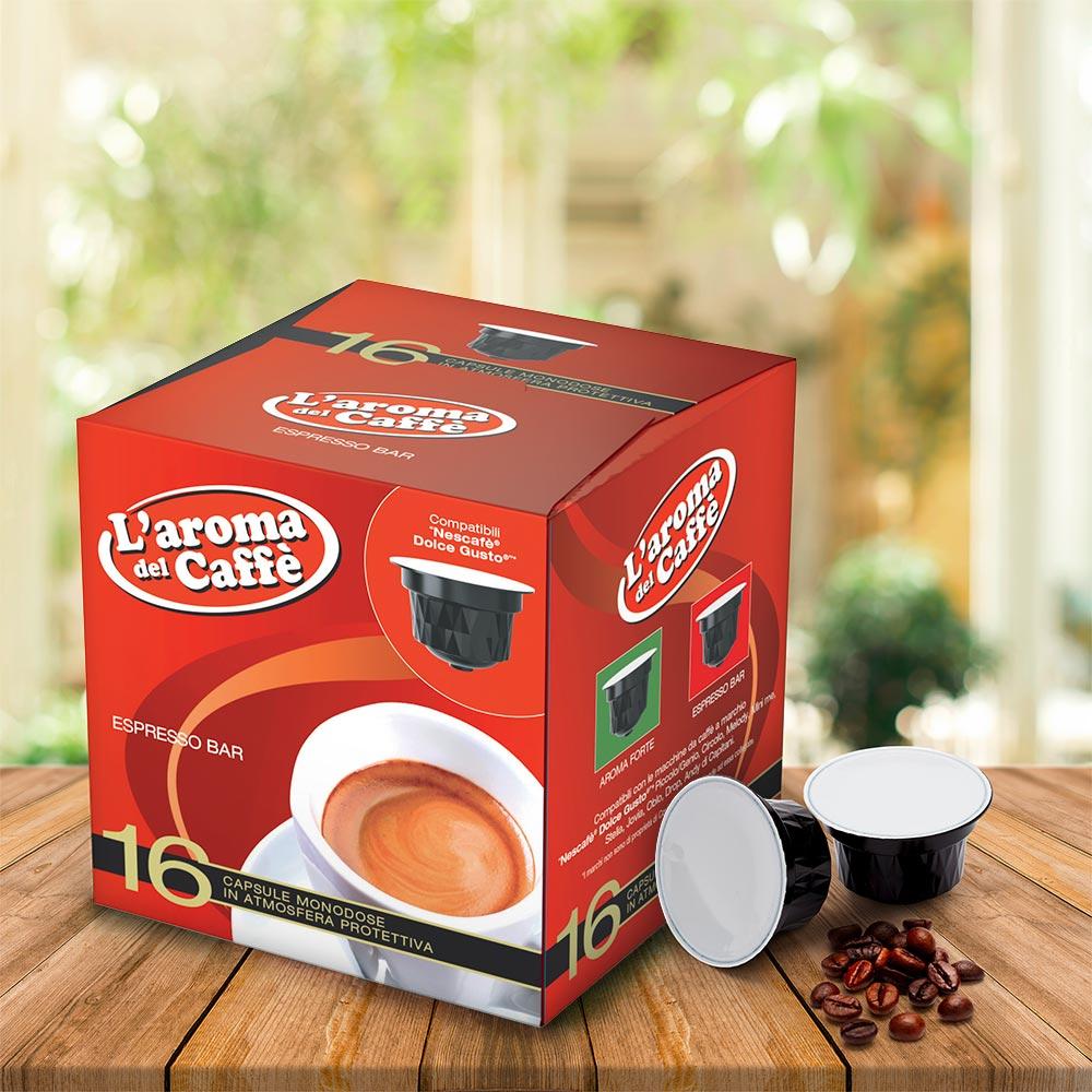 128 Capsule caffè compatibili dolce gusto miscela ESPRESSO BAR - indoor