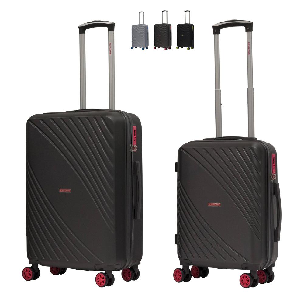Set 2 Trolley bagaglio a mano valigia rigida design 4 ruote TSA USA FRESH RAVIZZONI - offert