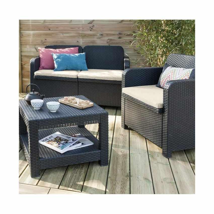 salon de jardin grand soleil sorrento en poly rotin table. Black Bedroom Furniture Sets. Home Design Ideas