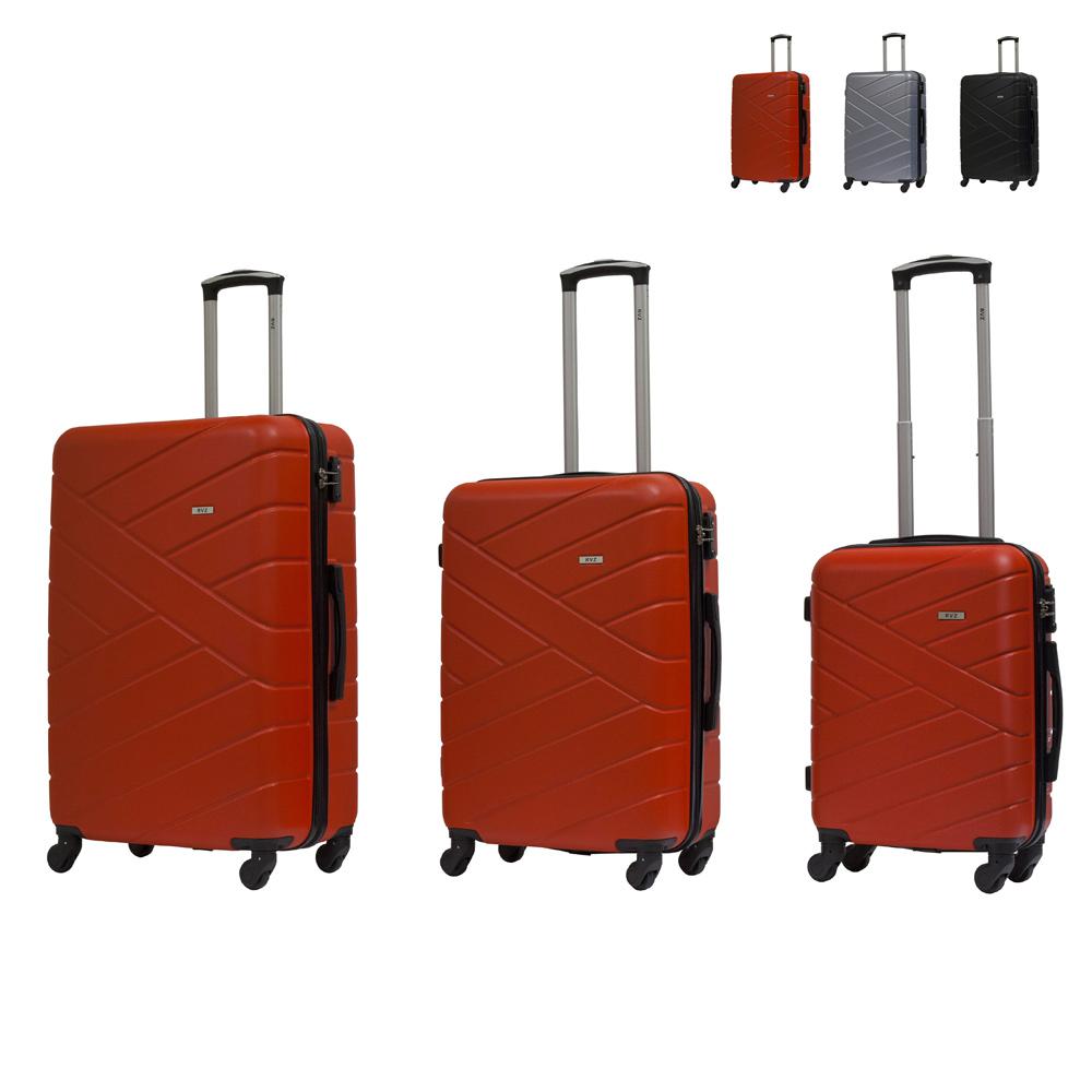 Set 3 Trolley bagaglio a mano valigia rigida design 4 ruote TSA USA GIOVE RAVIZZONI - indoor