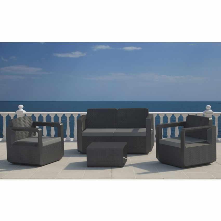 Salotto da giardino Polyrattan schienale rialzato 4 posti  poltrone + divano VENUS - interno