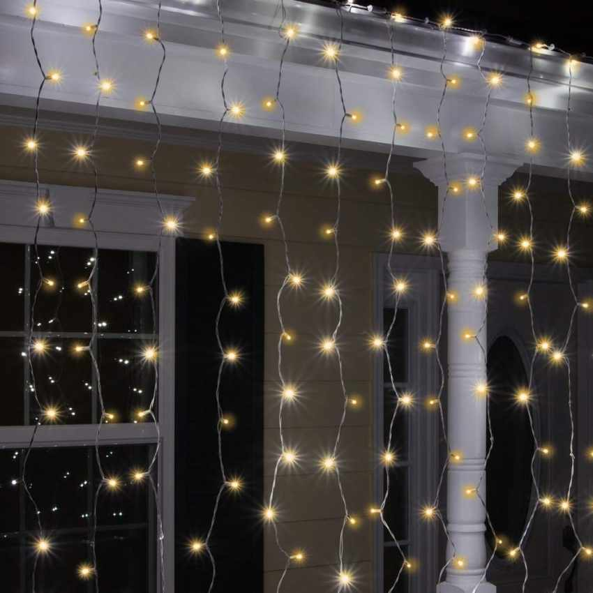 Proiettore Luci Natalizie Effetto Neve.Tenda Luminosa Luci Natale Esterno Led Energia Solare Effetto Neve 100 Led