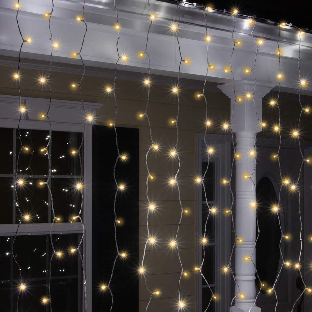 Tenda luminosa luci Natale esterno led energia solare effetto neve 100 led - Bild