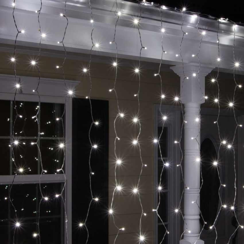 Tenda luminosa luci Natale esterno led energia solare effetto neve 100 led - details