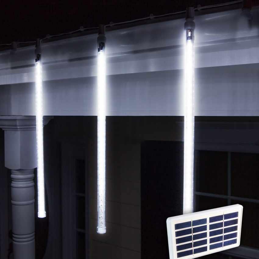 Weihnachtsbeleuchtung Led Batterie.Solarmodul Outdoor Led Weihnachtsbeleuchtung 4 Eiszapfen Longlife Batterie