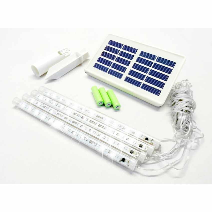 Luminarie di Natale 48 LED a Energia Solare 4 Ghiaccioli - esterno