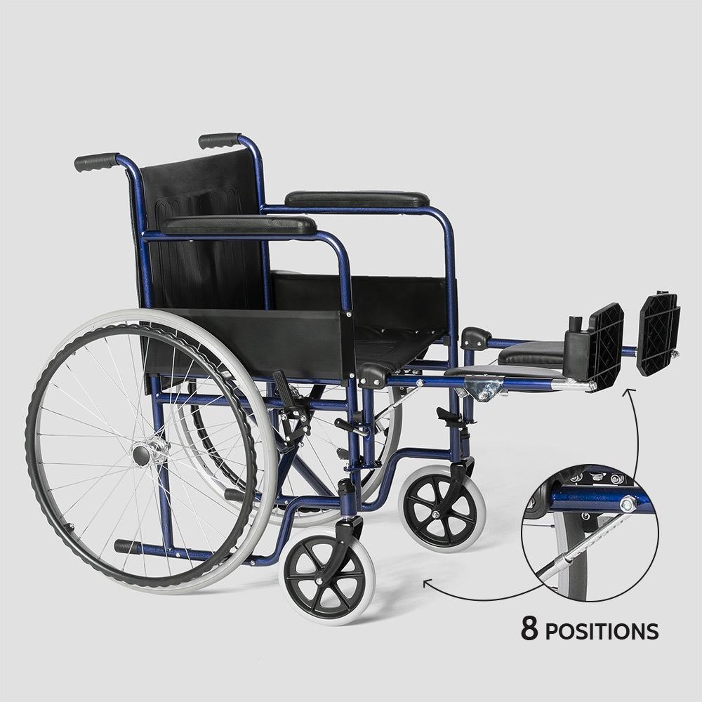 miniatura 31 - Sedia a Rotelle carrozzina con supporto alza gambe pieghevole disabili e anziani