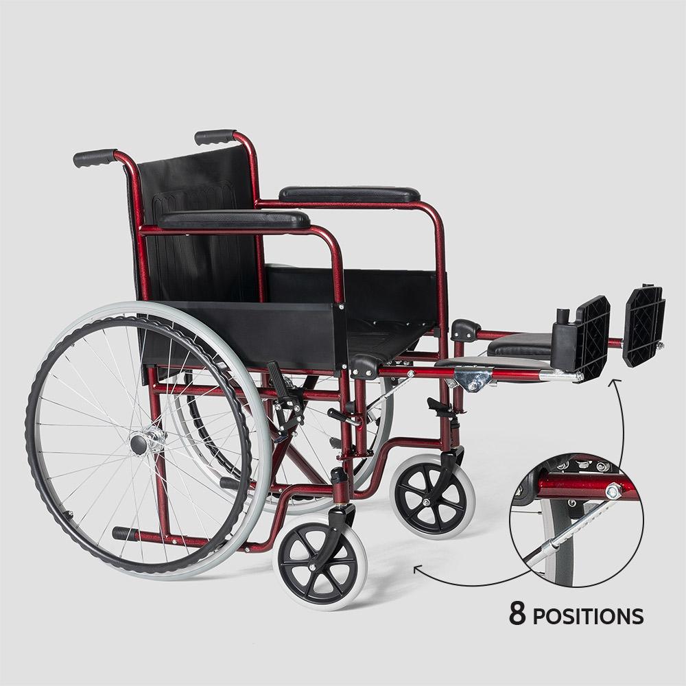 miniatura 21 - Sedia a Rotelle carrozzina con supporto alza gambe pieghevole disabili e anziani