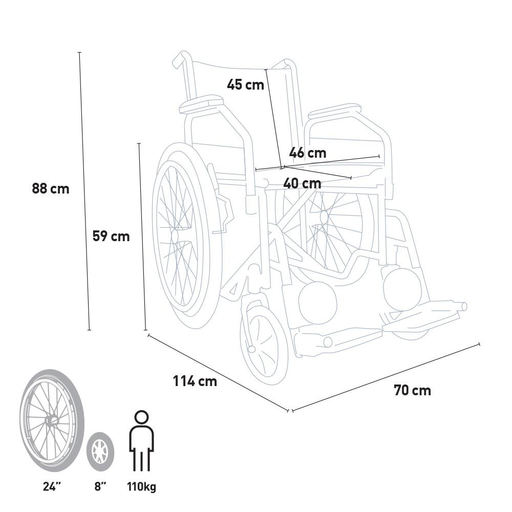 miniatura 32 - Sedia a Rotelle carrozzina con supporto alza gambe pieghevole disabili e anziani