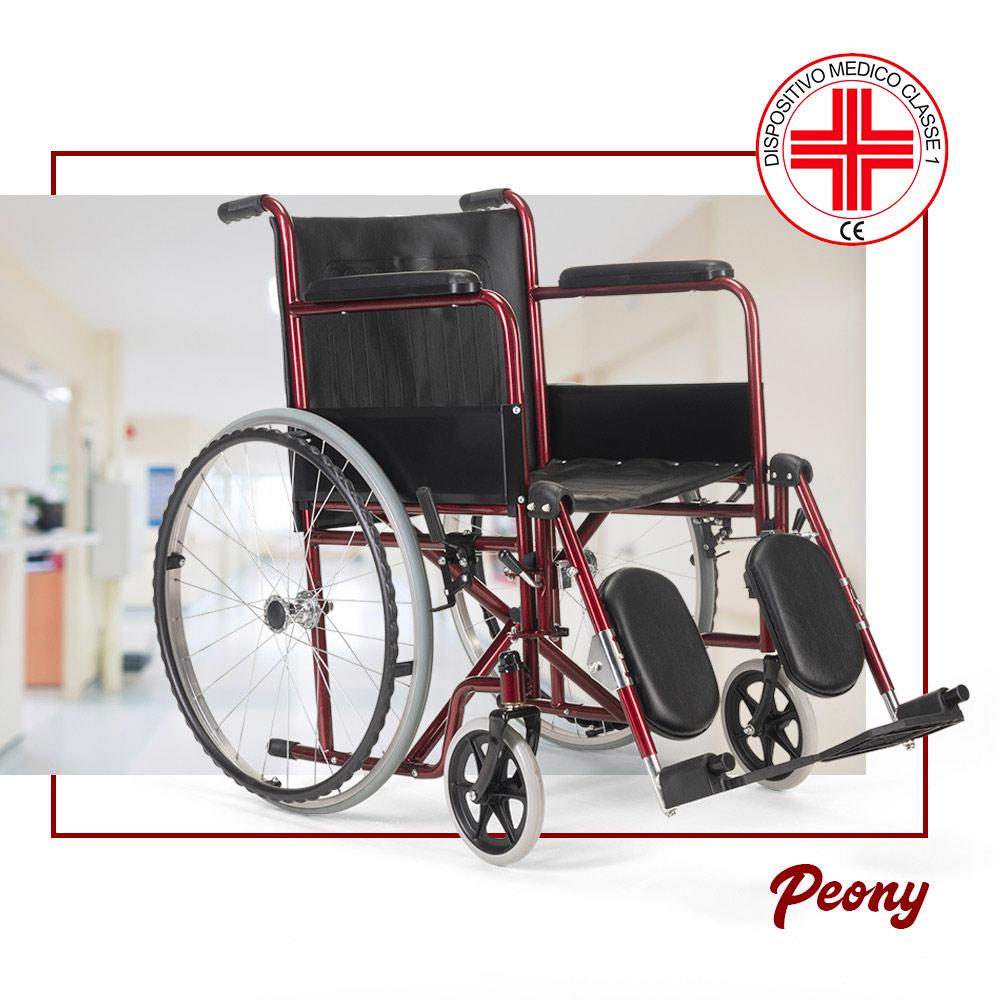 miniatura 34 - Sedia a Rotelle carrozzina con supporto alza gambe pieghevole disabili e anziani