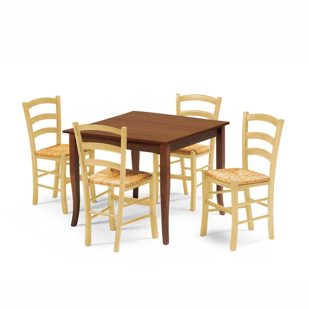 Set 4 sedie e tavolo da interno cucina e bar quadrato ...