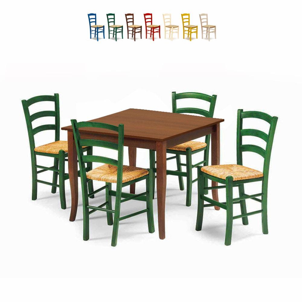4 Sedie In Legno.Rusty Set 4 Sedie E Tavolo Da Interno Cucina Bar Quadrato 80x80 Legno