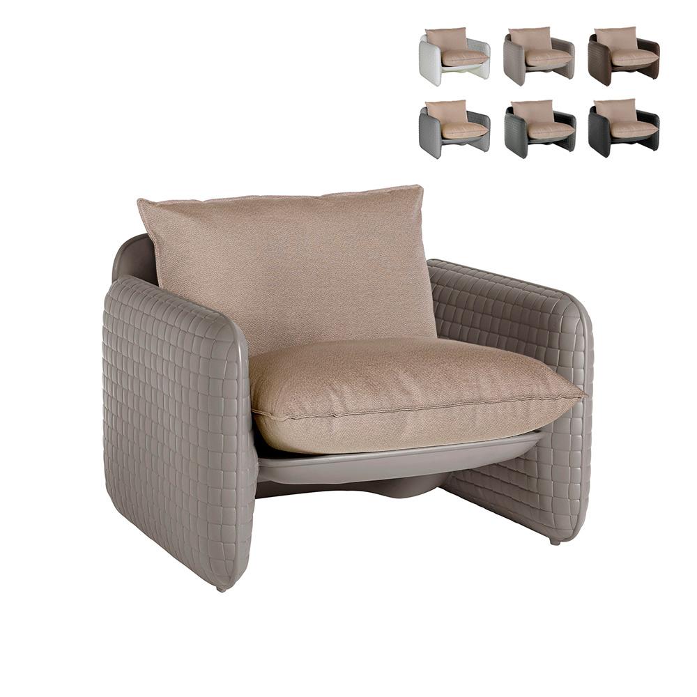 Poltrona lounge design moderno Slide Mara trama cuoio interno esterno